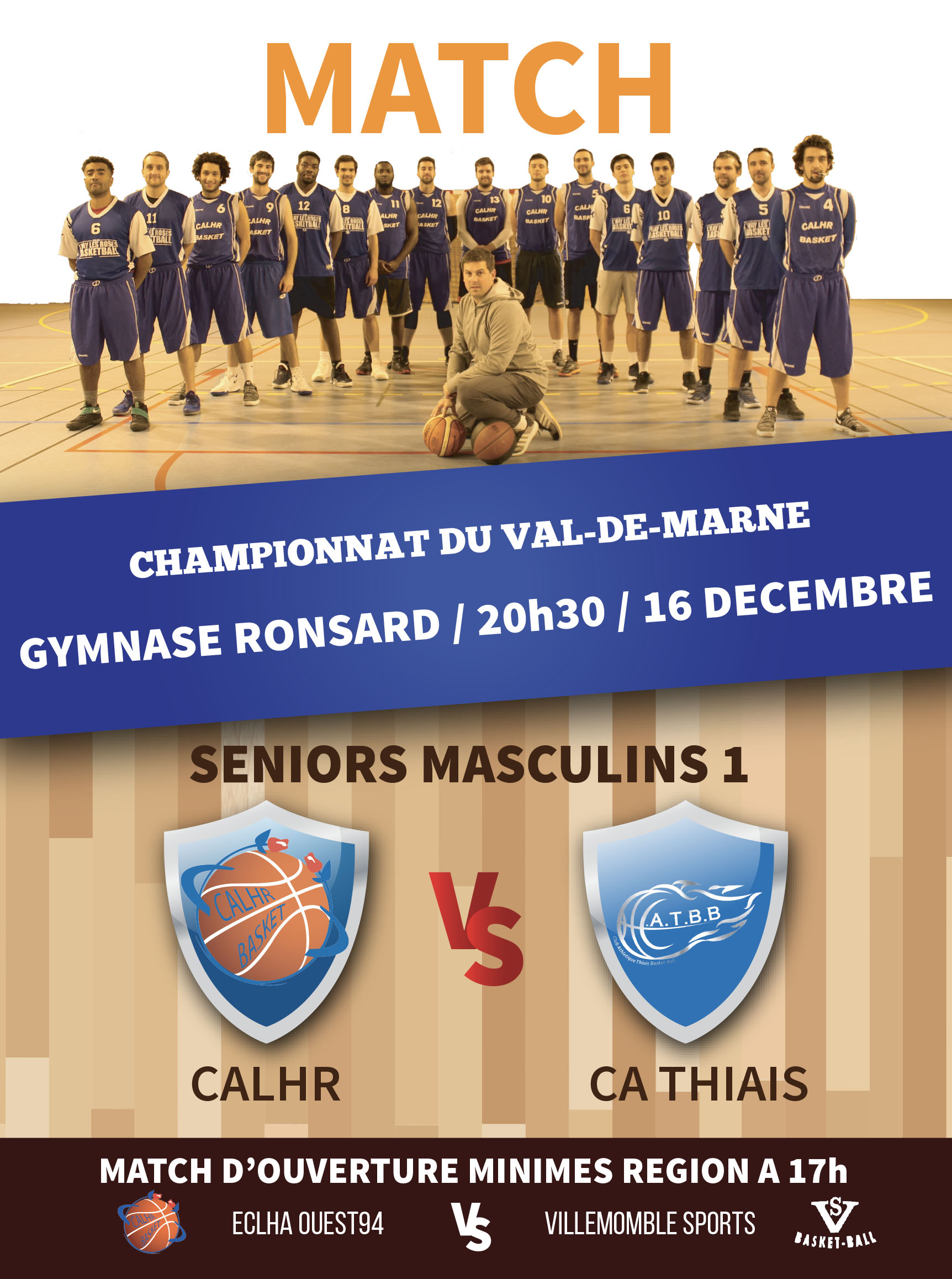 affiche basket match seniors 16 12 2017